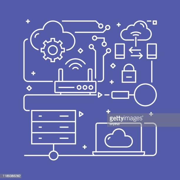 bildbanksillustrationer, clip art samt tecknat material och ikoner med mall för koncept design för molnbaserad databehandling. sammanfattning av dispositions symbol - sponsra
