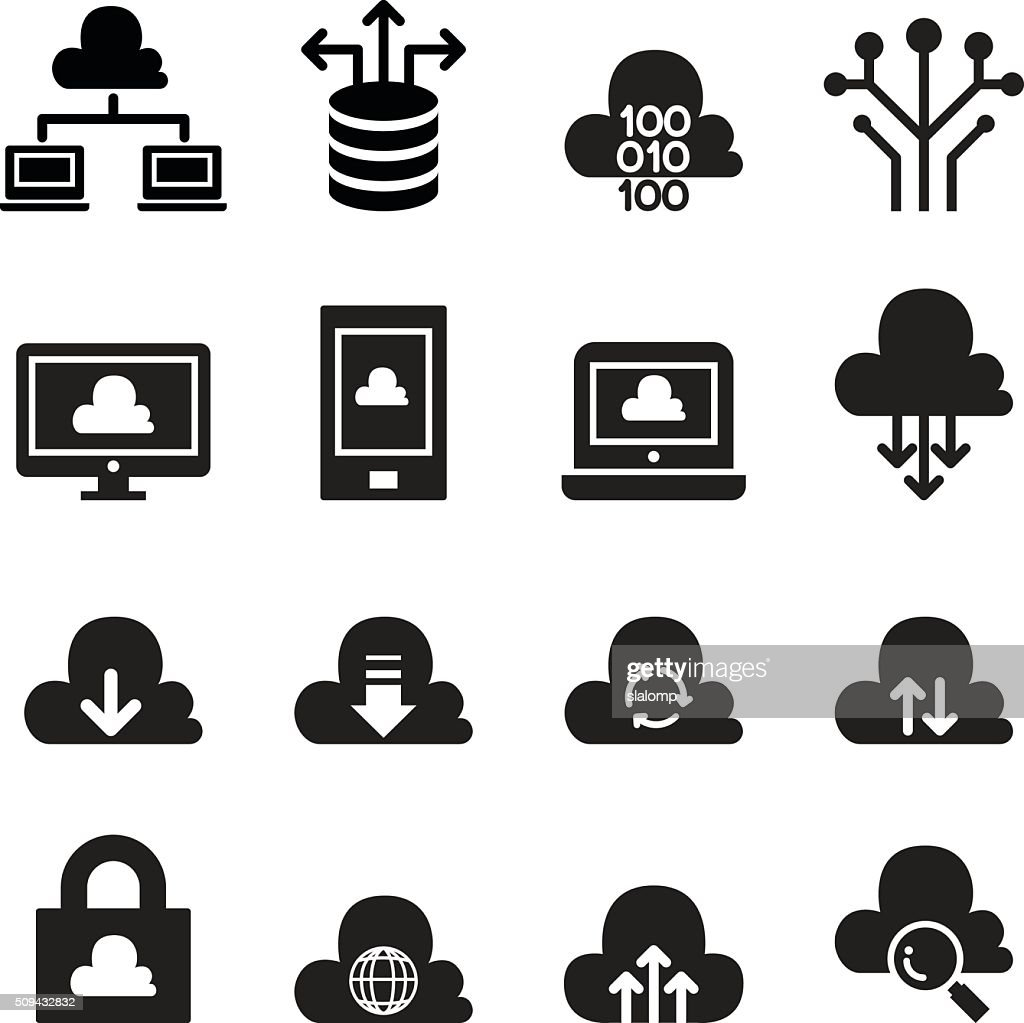 Cloud computing concept icon set