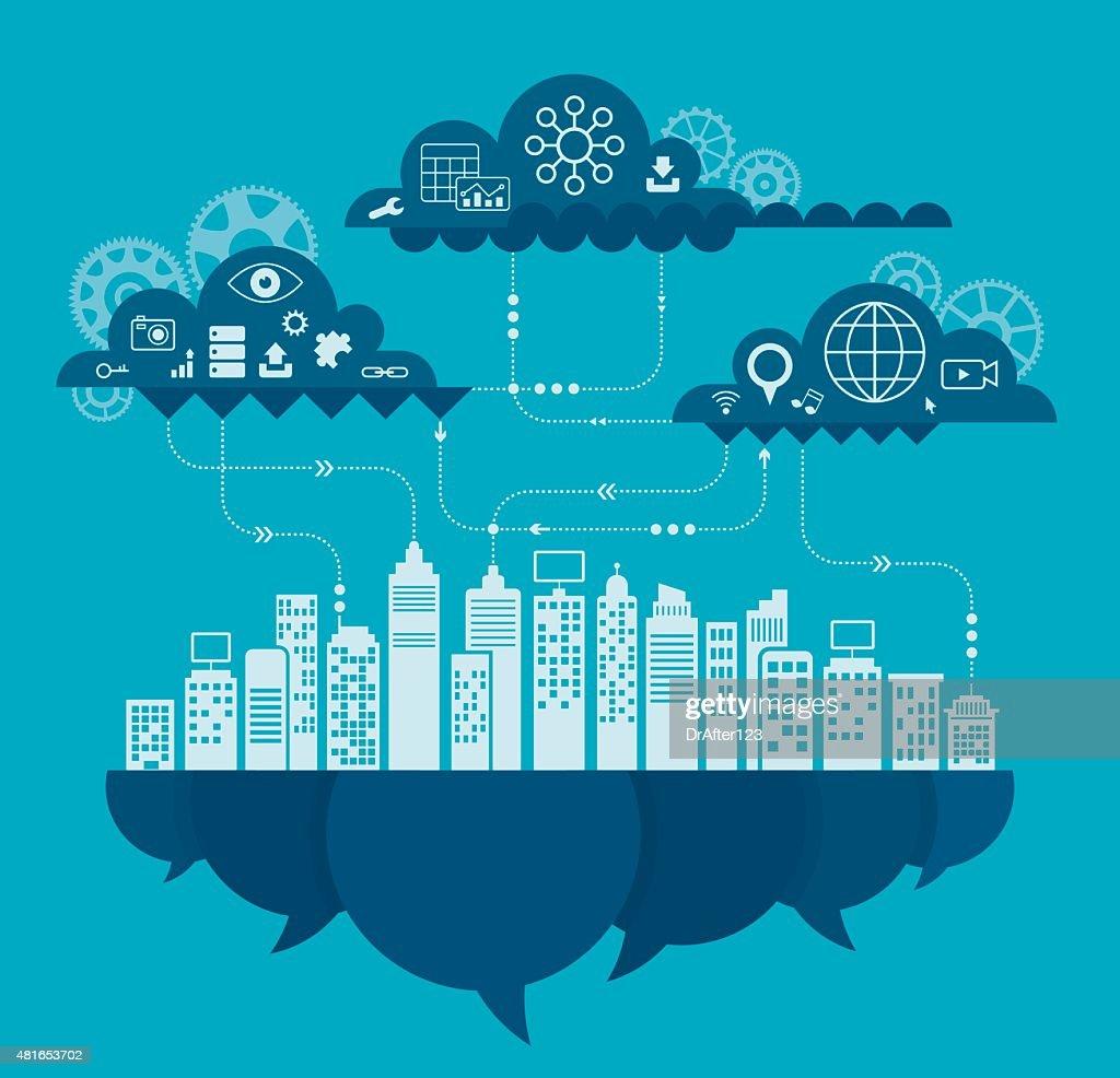 Cloud Computing Concept Including Icon Set