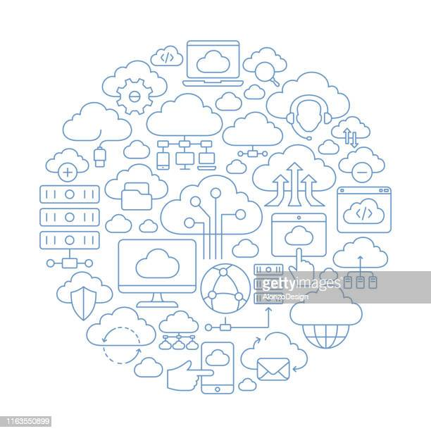 cloud computing concept - composite image stock illustrations