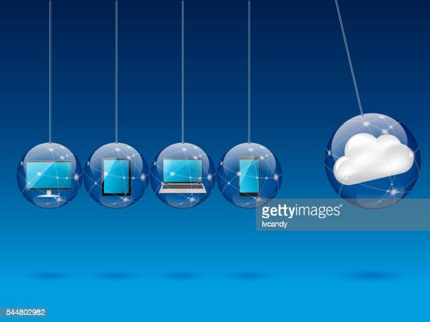 cloud computing concept - domino effect stock illustrations