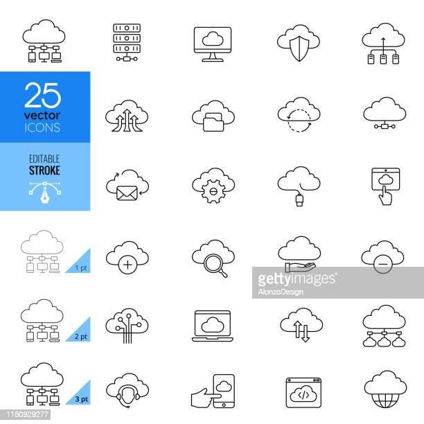 illustrazioni stock, clip art, cartoni animati e icone di tendenza di cloud computing editable stroke icons - cloud computing