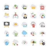 Cloud Computing Flat Vector Icons Set 1