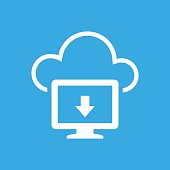 Cloud Computing icon on a blue background. - SmoothSeries