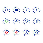 Cloud Computing icon set. outline icon. Includes such as Data Synchronization, Transfer, Access, download, upload, account and other.