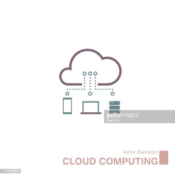 illustrations, cliparts, dessins animés et icônes de icône de cloud computing - cloud computing