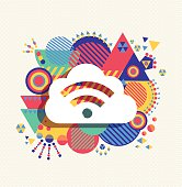 Cloud computing icon vibrant colors illustration