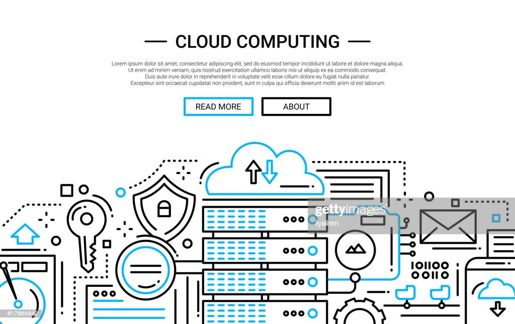 Cloud Computing - line design website banner