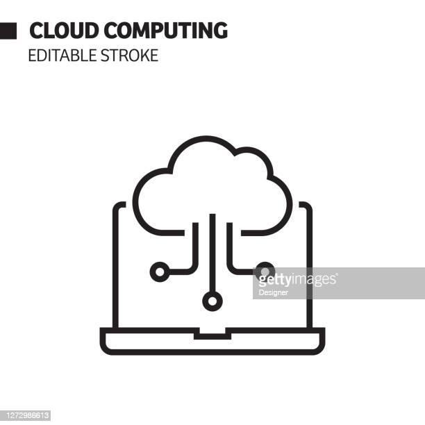 ilustrações, clipart, desenhos animados e ícones de ícone da linha de computação em nuvem, ilustração do símbolo de vetor. - computação em nuvem
