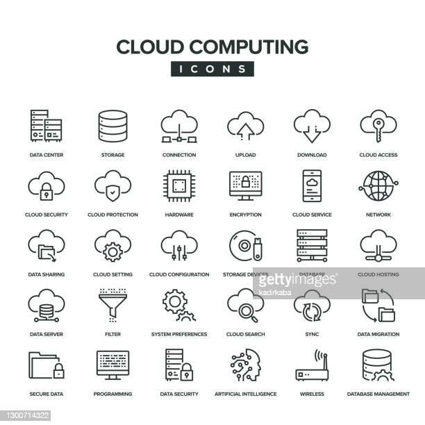ilustraciones, imágenes clip art, dibujos animados e iconos de stock de conjunto de iconos de línea de computación en la nube - servidor de red