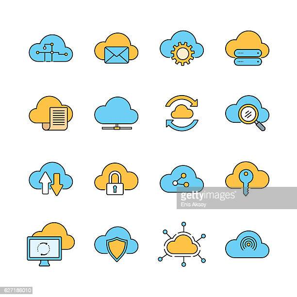 cloud computing line icon set - access control stock illustrations, clip art, cartoons, & icons
