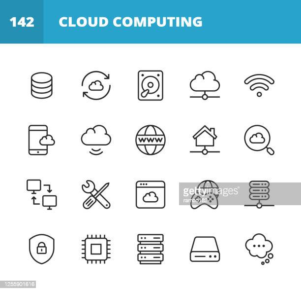 cloud computing line icons. editable stroke. pixel perfect. for mobile and web. contains such icons as cloud computing, computer network, network server, streaming, downloading, uploading, cybersecurity, online banking, e-commerce, storage, web. - big data storage stock illustrations