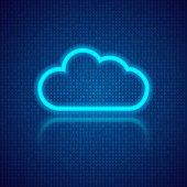 Cloud computing on an abstract digital background.
