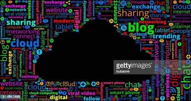 Il Cloud Computing di comunicazione moderno e tecnologia parola Patt