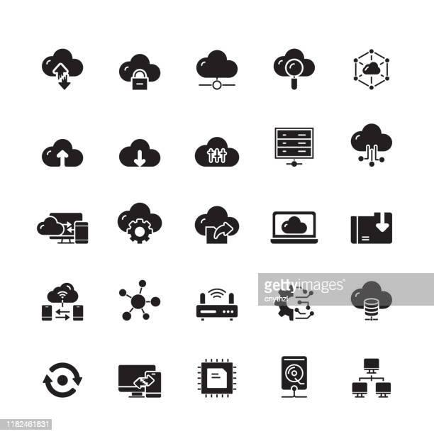 bildbanksillustrationer, clip art samt tecknat material och ikoner med cloud computing relaterade vektor ikoner - sponsra