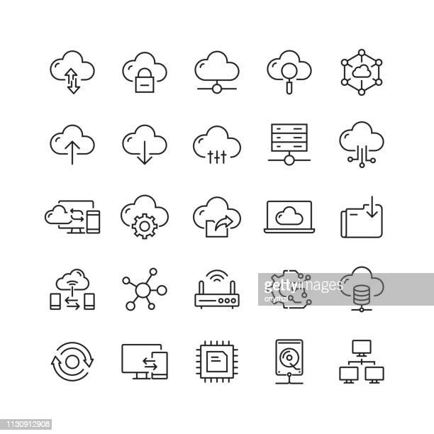 cloud computing related vector line icons - cloud computing stock-grafiken, -clipart, -cartoons und -symbole