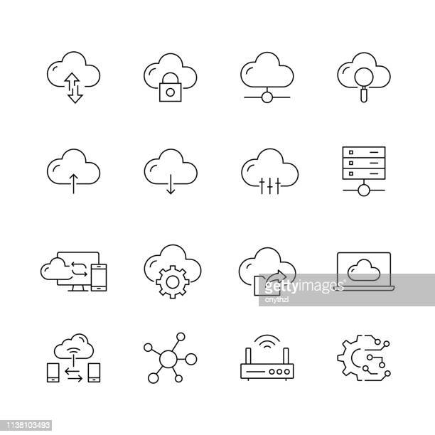 cloud computing - set of thin line vector icons - on the move stock illustrations