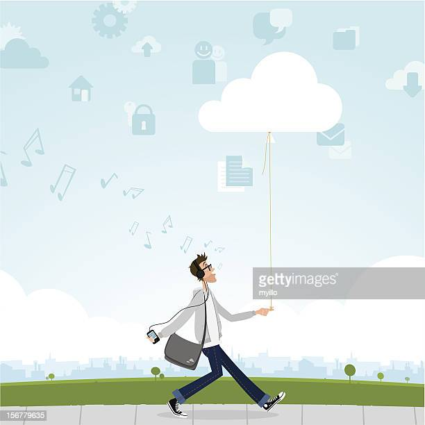 cloud computing smartphone music internet guy geek - attitude stock illustrations, clip art, cartoons, & icons