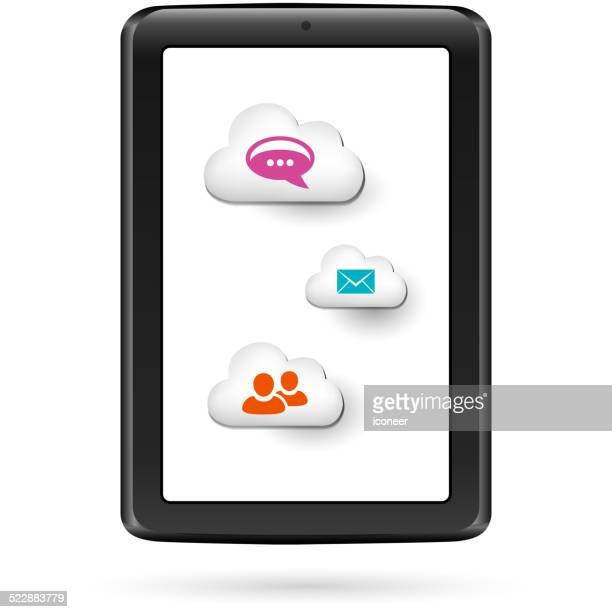 cloud computing tablet pc - electronic organizer stock-grafiken, -clipart, -cartoons und -symbole