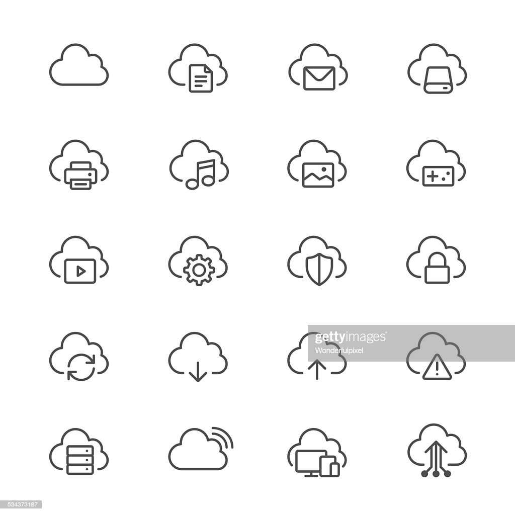 Cloud computing thin icons