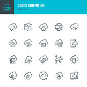 Cloud Computing - thin line vector icon set. Pixel perfect. Editable stroke. The set contains icons: Cloud Computing, Data Analyzing, Data Center, Internet of Things.
