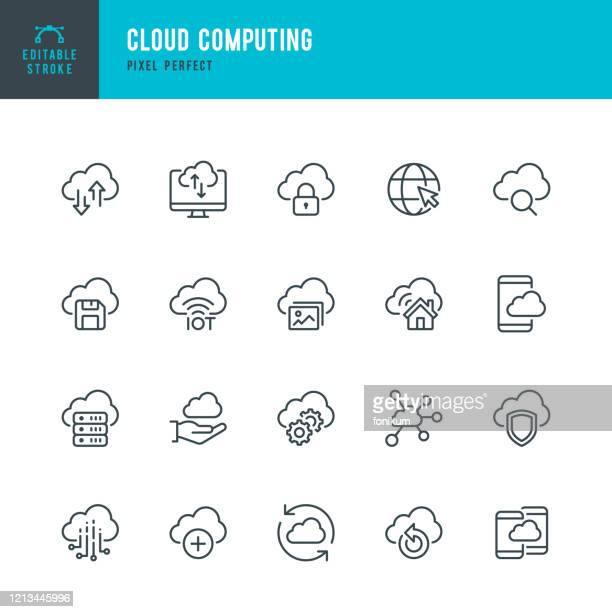 cloud computing - dünnlinien-vektorsymbol-set. pixel perfekt. bearbeitbarer strich. das set enthält symbole: cloud computing, data inalyzing, data center, internet of things. - cloud computing stock-grafiken, -clipart, -cartoons und -symbole