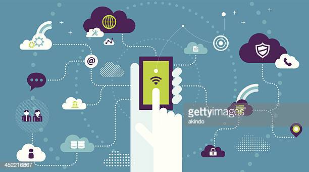 cloud computing - mobile phone stock illustrations, clip art, cartoons, & icons