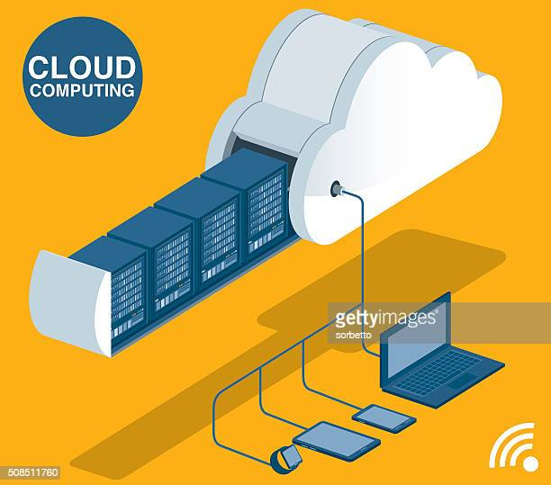 cloud computing - cloudscape stock illustrations, clip art, cartoons, & icons