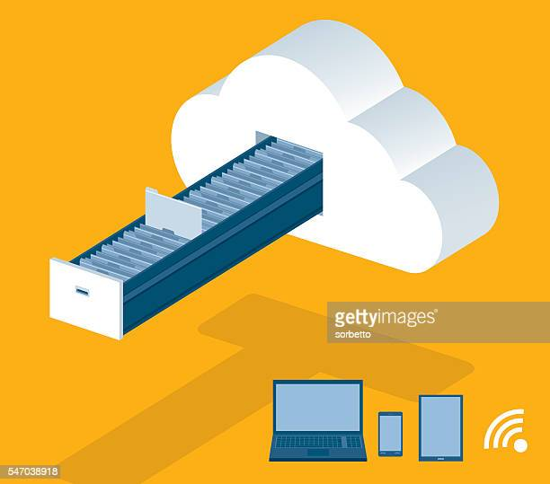 cloud computing - filing cabinet stock illustrations, clip art, cartoons, & icons
