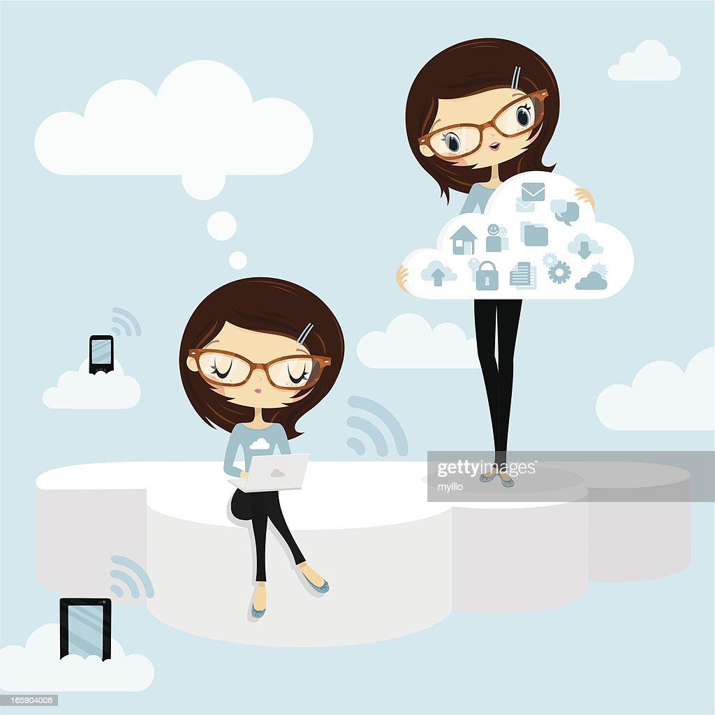Cloud computing. Woman internet concepts