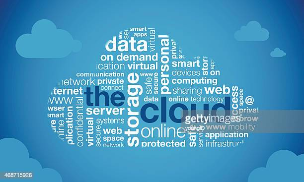cloud computing word cloud - einzelwort stock-grafiken, -clipart, -cartoons und -symbole