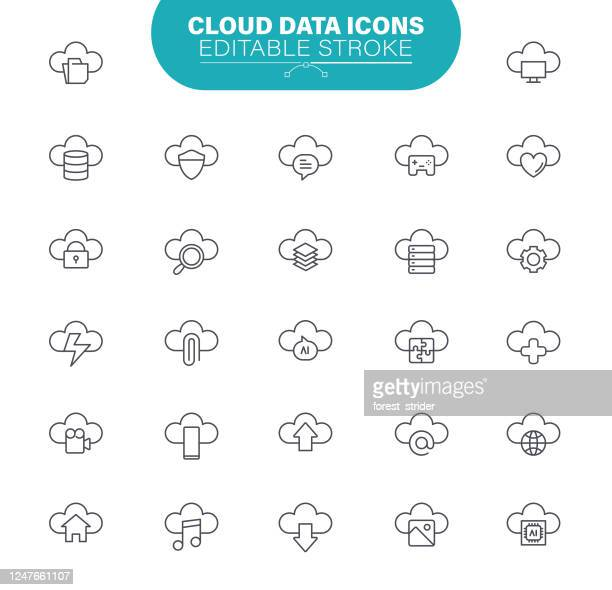 cloud data icons. set contains icons as cloud storage, cloud computing, equipment, outline illustration - artificial neural network stock illustrations