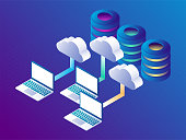 Cloud data storage and cloud storage concept. Landing page template. 3d isometric vector illustration.