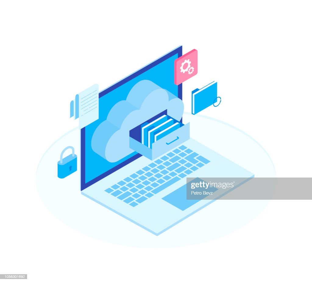 Cloud data storage flat 3d isometric business technology server concept. Laptop with Document drawer in cloud-shaped cabinet. Modern isometric vector illustration