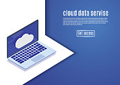 Cloud data storage, web hosting, isometric server vector illustration on a blue background.computer
