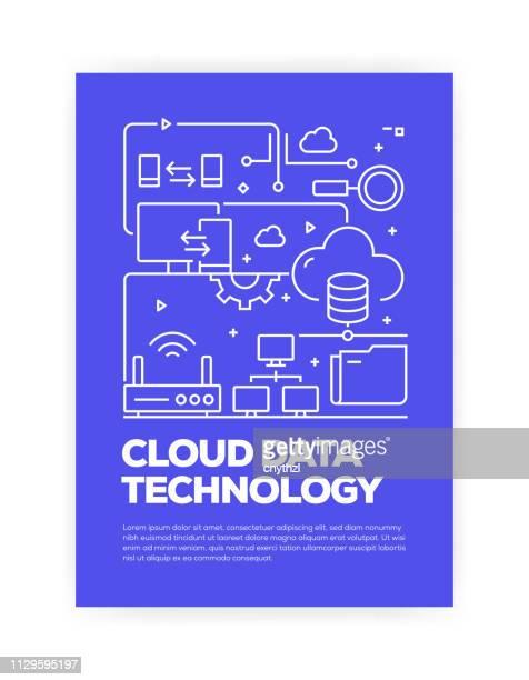 illustrazioni stock, clip art, cartoni animati e icone di tendenza di cloud data technology concept line style copertina design per report annuale, volantino, brochure. - centro elaborazione dati