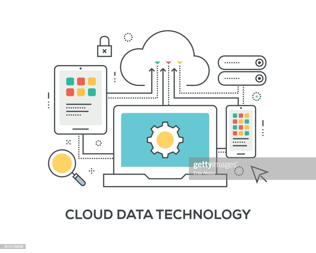 Cloud Data Technology Concept with icons : stock illustration