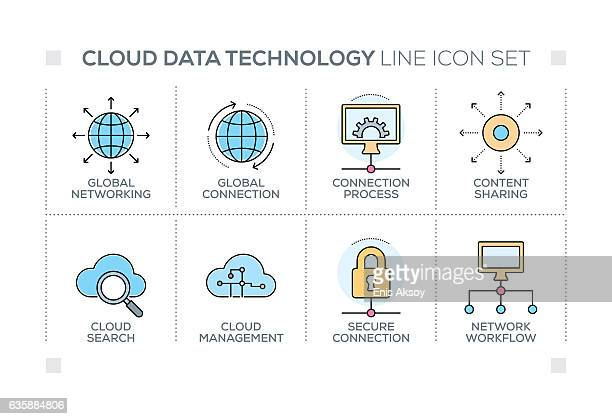 Cloud Data Technology keywords with line icons