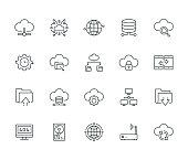 Cloud Data Technology Line Icon Set