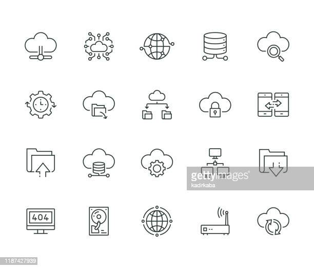 cloud data technology line icon set - computer part stock illustrations