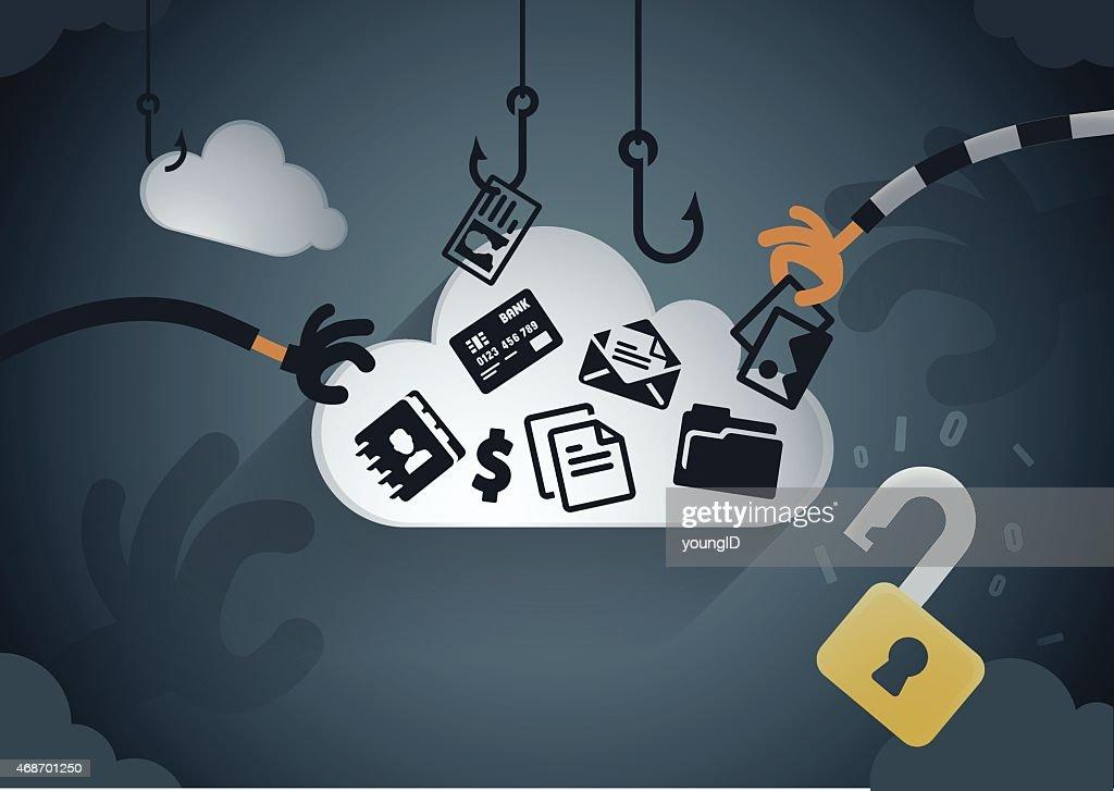 Cloud data theft : stock illustration
