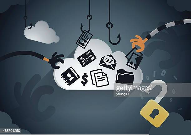 cloud data theft - personal information stock illustrations, clip art, cartoons, & icons