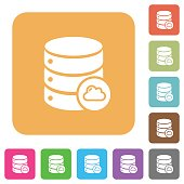 Cloud database rounded square flat icons