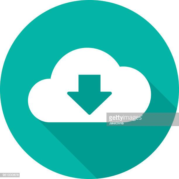 cloud download icon silhouette 2 - stream stock illustrations