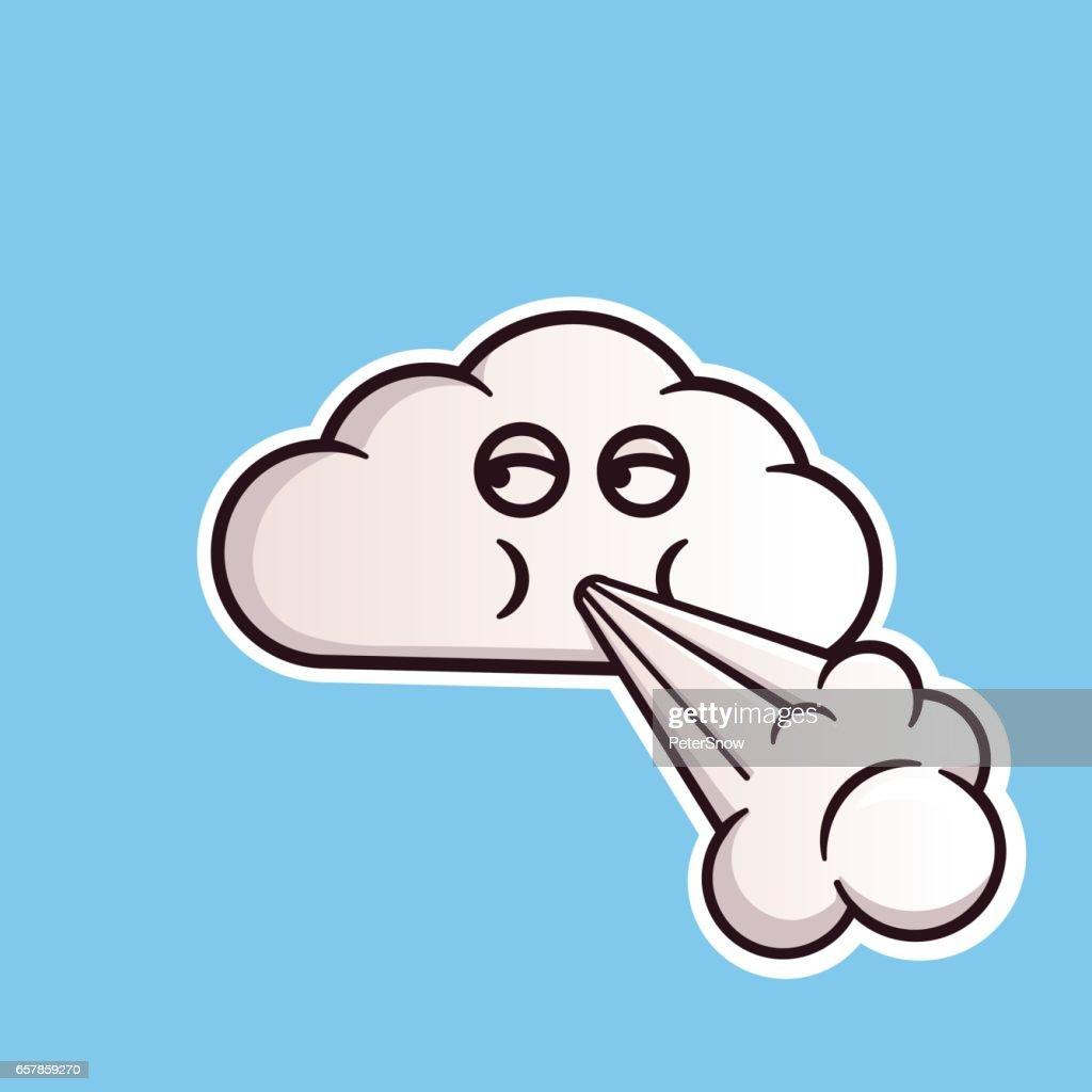 Cloud emoticon blowing wind.