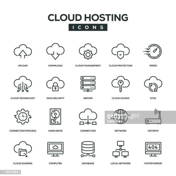 ilustraciones, imágenes clip art, dibujos animados e iconos de stock de conjunto de iconos de línea de alojamiento en la nube - servidor de red