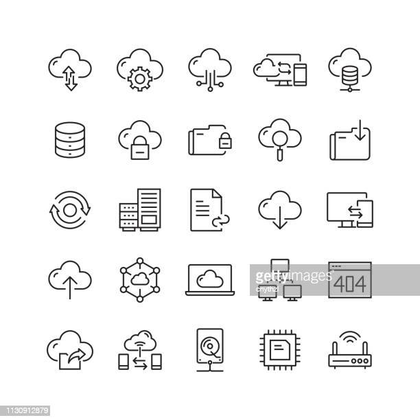 cloud hosting related vector line icons - network server stock illustrations