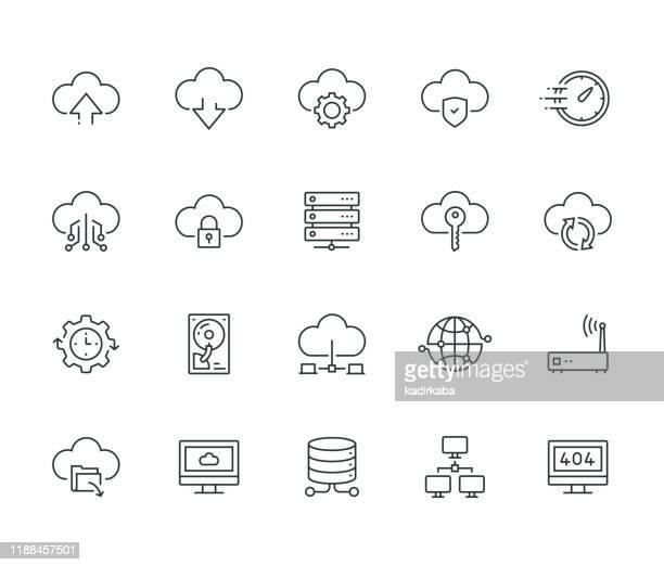illustrazioni stock, clip art, cartoni animati e icone di tendenza di serie thin line di hosting cloud - centro elaborazione dati
