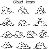 Cloud icon set in thin line style