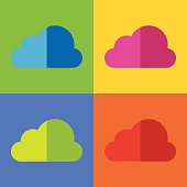 Cloud icon vector, set of Cloud icon on colorful background